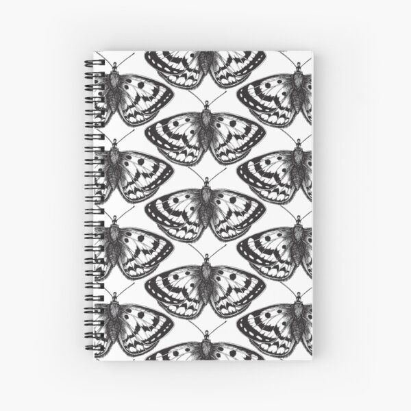 Butterfly Black n White Spiral Notebook