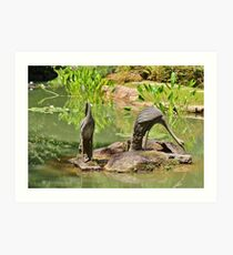 Two Iron Egrets Art Print