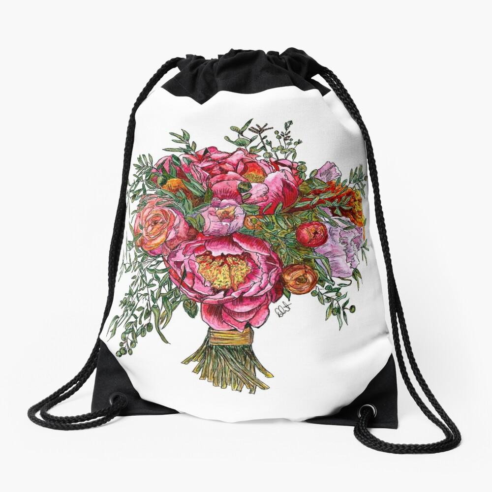 Peonies and Roses Drawstring Bag