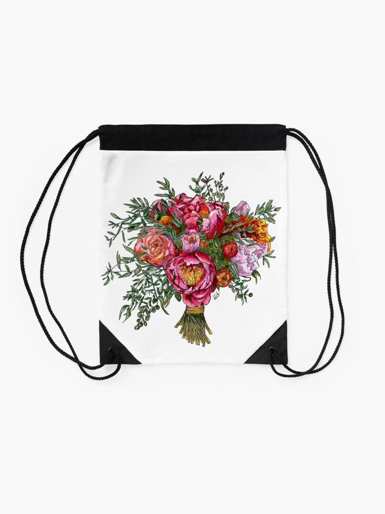 Alternate view of Peonies and Roses Drawstring Bag