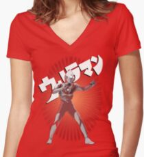 UltraMan Japanese Fun Time Women's Fitted V-Neck T-Shirt