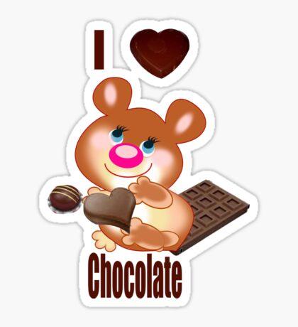 Teddy I Love chocolate  (6370  Views) Sticker