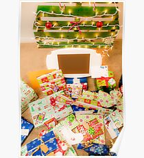 Christmas presents under an ecological, reusable Christmas tree  Poster