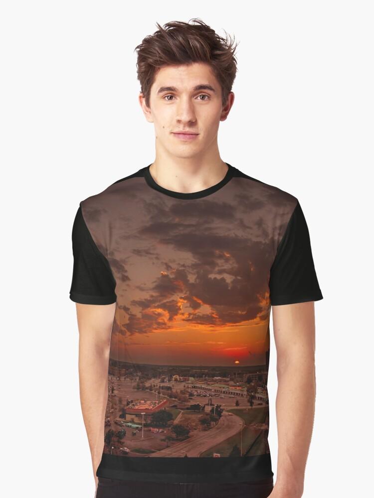 Urban Sunset Graphic T-Shirt Front