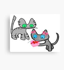 Two Cats On ValentinesDay Canvas Print