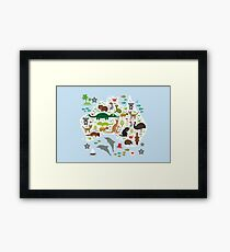 Australian animal map and ocean Framed Print