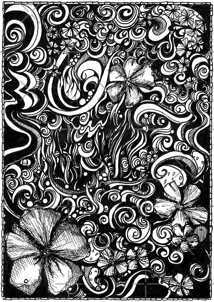 Overrun, Ink Drawing by Danielle Scott