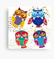 bright colorful owls on black background Canvas Print