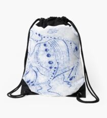 Blue Fish Drawstring Bag