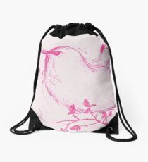 Pink Bird Drawstring Bag