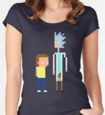 Rick and Morty Pixels  Women's Fitted Scoop T-Shirt