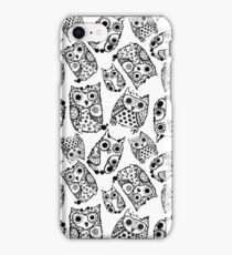 Funny cute owls with ink splashes. iPhone Case/Skin