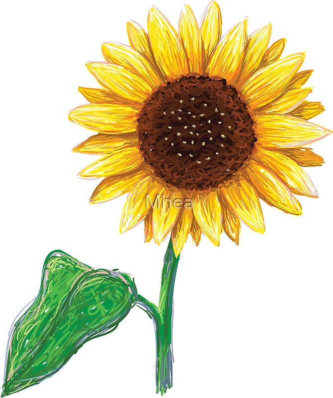 Sunflower With Stem And Green Leaf Sticker Stickers By