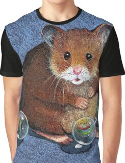 Hamster Playing with Marbles, Colour Pencil Art Graphic T-Shirt