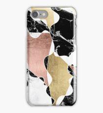 Rose gold black white marble color block stylish iPhone Case/Skin
