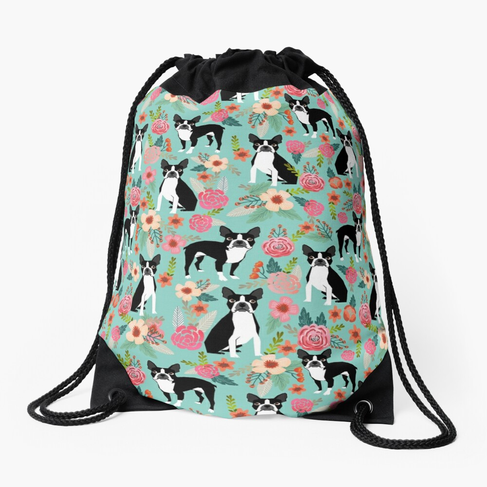 Floral Boston Terrier cute dog spring bloom love valentines day gift terrier black and white puppy Drawstring Bag