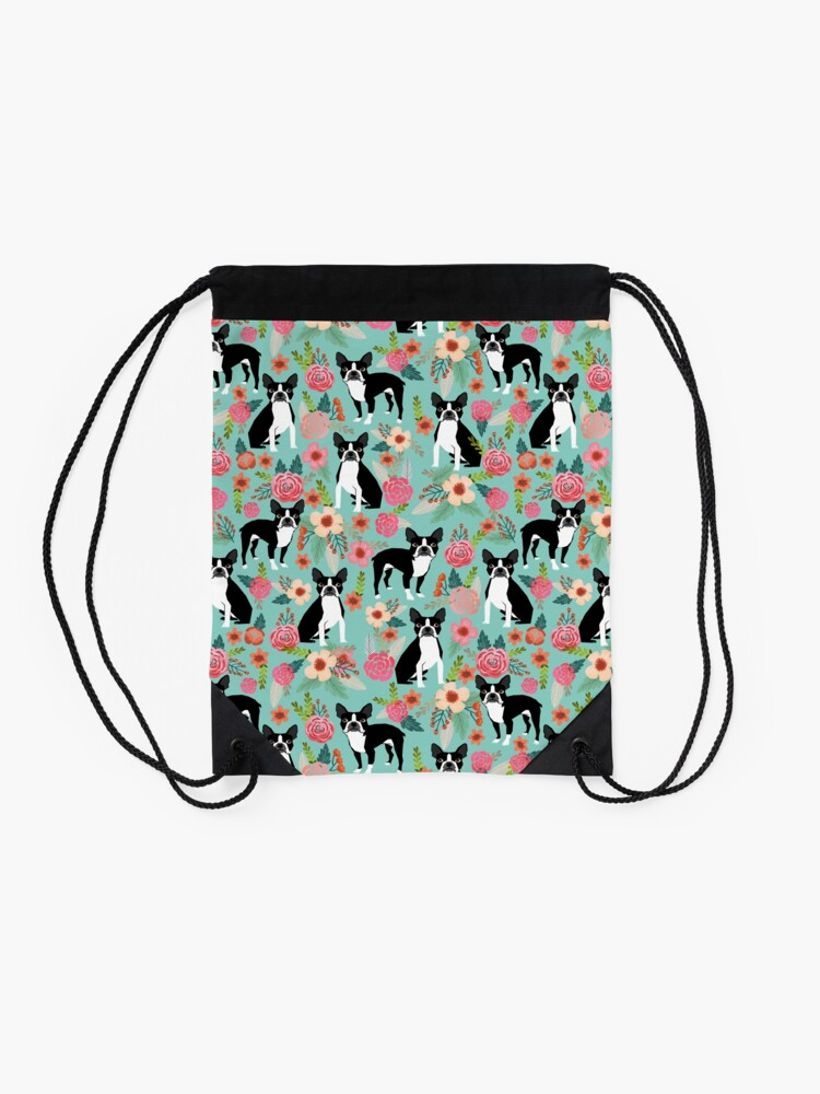 Alternate view of Floral Boston Terrier cute dog spring bloom love valentines day gift terrier black and white puppy Drawstring Bag