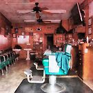 Barber Shop With Green Barber Chairs by Susan Savad