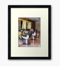 Small Town Barber Shop Framed Print