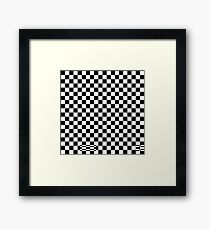 Check pattern. Checkered pattern. Black and white check pattern. Checkerboard. Chessboard. Framed Print