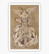 grayscale image of dead king with birds2 Sticker
