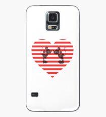 Striped Heart Case/Skin for Samsung Galaxy