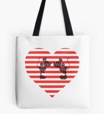 Striped Heart Tote Bag
