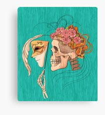 illustration with skull holding a human face mask Canvas Print