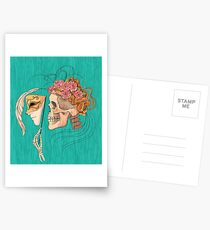illustration with skull holding a human face mask Postcards