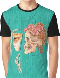 illustration with skull holding a human face mask Graphic T-Shirt