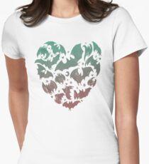 Bat Heart; blue/pink ombre Women's Fitted T-Shirt