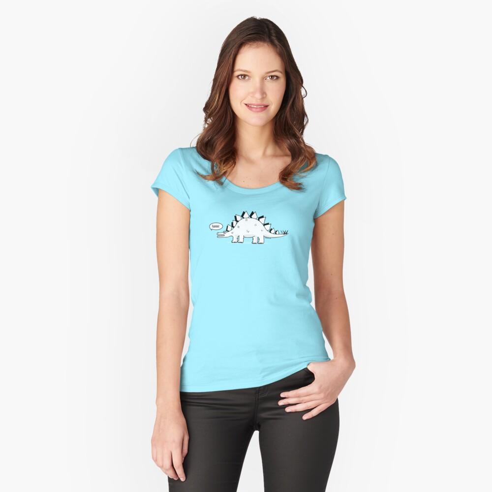 Cartoon Stegosaurus Fitted Scoop T-Shirt