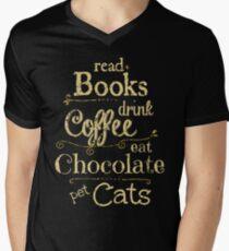 Camiseta para hombre de cuello en v leer libros, tomar café, comer chocolate, gatos domésticos