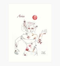 Aries with Honeysuckle and Thistle Art Print