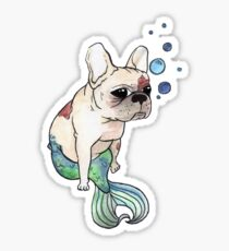 French Bulldog x Mermaid (green) Sticker