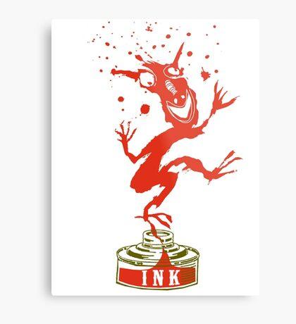 Red Ink Bottle Imp Metal Print