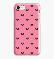 Rockabilly, punk pink and black retro hearts.  iPhone Case/Skin