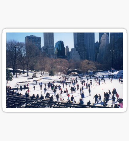 Central Park, Skating Rink, Winter View, New York City Sticker
