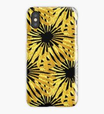 Black background gold Daisies pattern iPhone Case