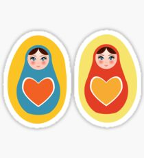 orange blue red yellow Russian dolls matryoshka Sticker