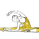 Vektorskizze der Mädchenballerina-Stellung. Gold Textur von OlgaBerlet