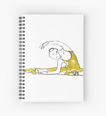 Vektorskizze der Mädchenballerina-Stellung. Gold Textur Spiralblock