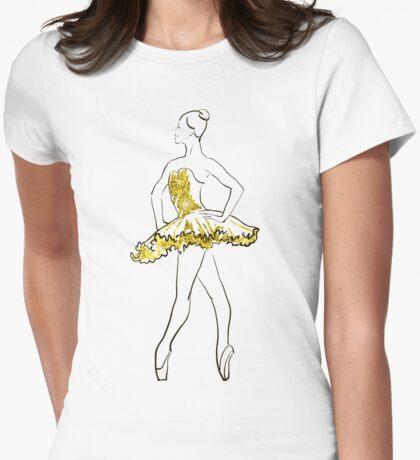 Vektorskizze der Mädchenballerina-Stellung. Gold Textur T-Shirt