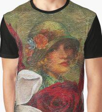 Vintage Woman Roses Oil Texture Graphic T-Shirt