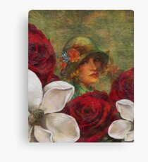 Vintage Woman Roses Oil Texture Canvas Print
