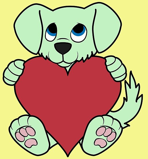 Valentine's Day Green Dog with Red Heart by Grifynne