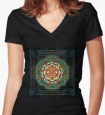 Maha Lakshmi (Laxmi) Mantra & Shri Yantra - Wealth Giving Women's Fitted V-Neck T-Shirt