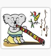 Koala playing didgeridoo cartoon Sticker