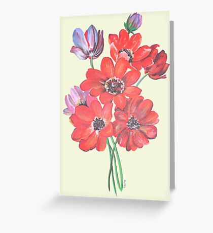 A Posy Of Wild Red And Lilac Anemone Coronaria Isolated  Greeting Card