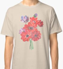 A Posy Of Wild Red And Lilac Anemone Coronaria Isolated  Classic T-Shirt